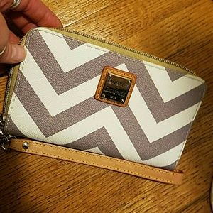 Dooney and Bourke  grey and white Chevron Wallet